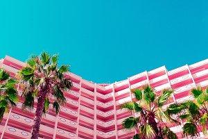 Palma and hotel. Art fashion design