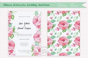 Hibiscus Watercolor Wedding Invite