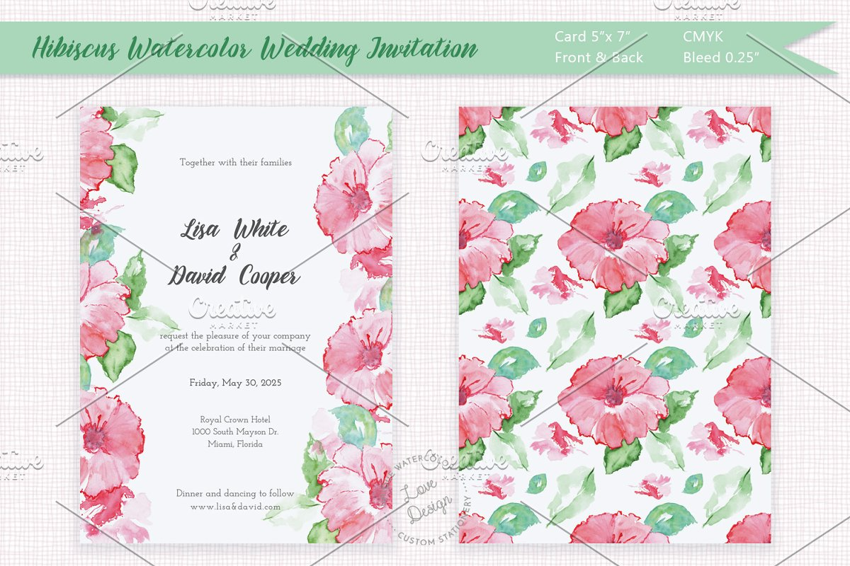 Hibiscus Watercolor Wedding Invite Templates Creative Market