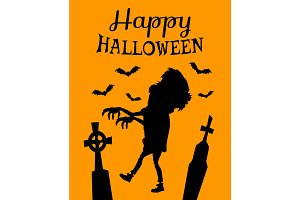 Happy Halloween Poster with Zombie Silhouette