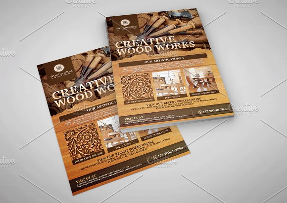 Wood Works And Wood Craft Flyer Flyer Templates Creative Market