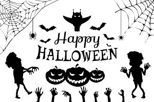 Happy Halloween with Title on Vector Illustration