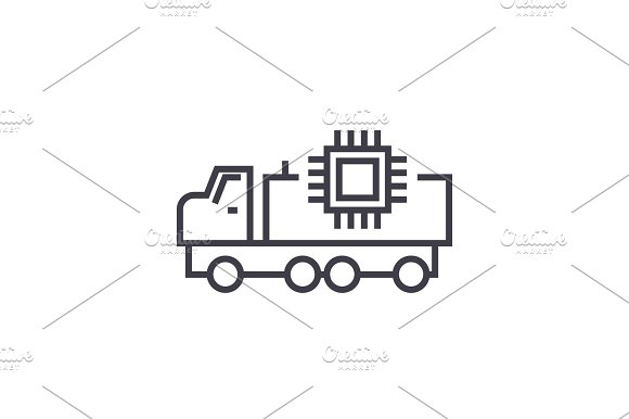Autonomous Car Linear Icon Sign Symbol Vector On Isolated Background