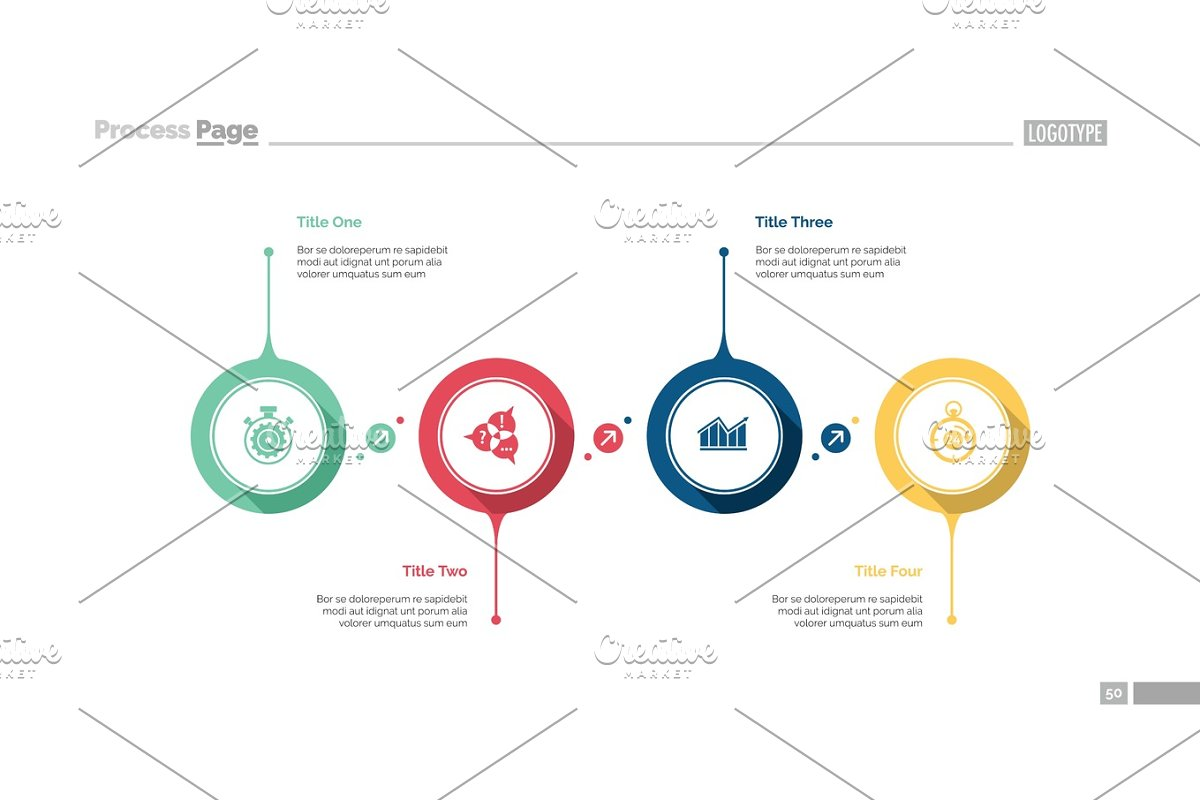 Four Aspects Flowchart Slide Template