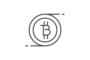 bitcoins technology linear icon, sign, symbol, vector on isolated background