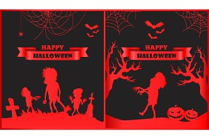 Happy Halloween Red Posters Vector Illustration