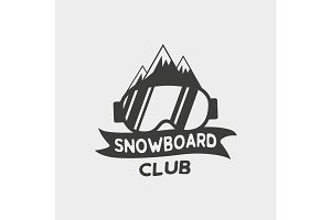 Symbol with snowboard glasses
