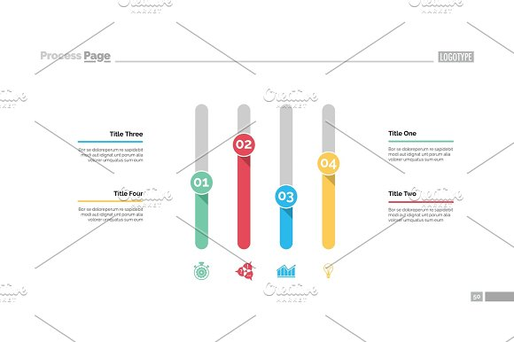 Four Columns Chart Slide Template Textures Creative Market