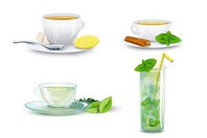 Delicious tea decorative icon set