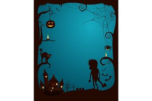 Halloween Theme Scary Poster Vector Illustration
