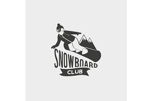 Snowboarding symbol with snowboarder