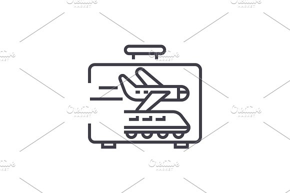 Business Traveling Linear Icon Sign Symbol Vector On Isolated Background