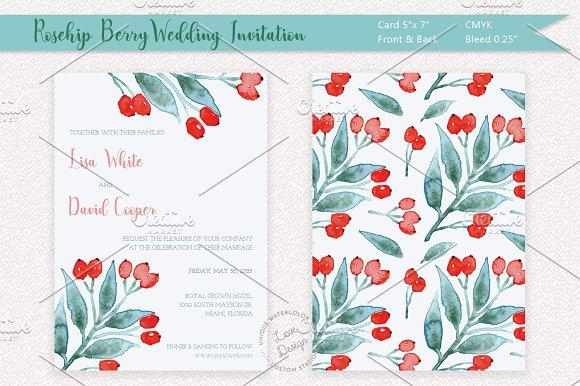 Rosehip Berry Wedding Invitation