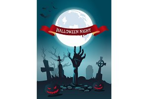 Halloween Night Scary Poster Vector Illustration