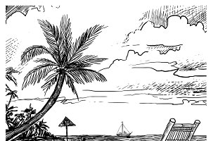 Summer beach sketch background
