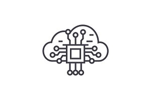 cloud computing linear icon, sign, symbol, vector on isolated background
