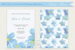 Blue Flower Watercolor Invitation