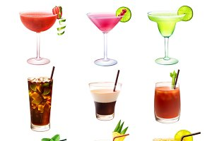 Cocktail decorative icons set