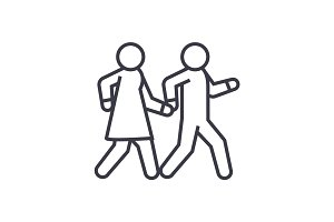 couple walks holding hands together linear icon, sign, symbol, vector on isolated background