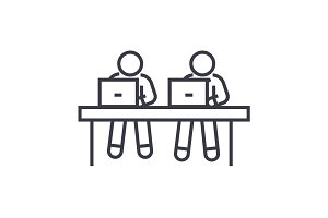 coworking, working at laptops linear icon, sign, symbol, vector on isolated background