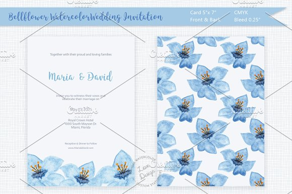 Bellflower Watercolor Wedding Invite