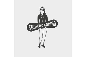 Symbol with female snowboarder.