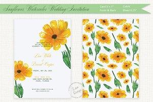Sunflower Watercolor Wedding Invite