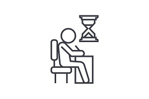 examing, test, writing man at desk linear icon, sign, symbol, vector on isolated background