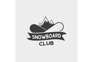 Snowboard club logo, label or badge