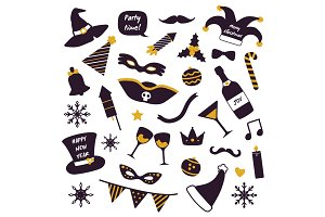 Christmas Party Decorations Vector Illustration