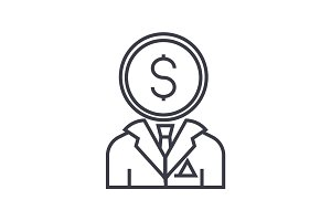 financial consultant line icon, sign, symbol, vector on isolated background