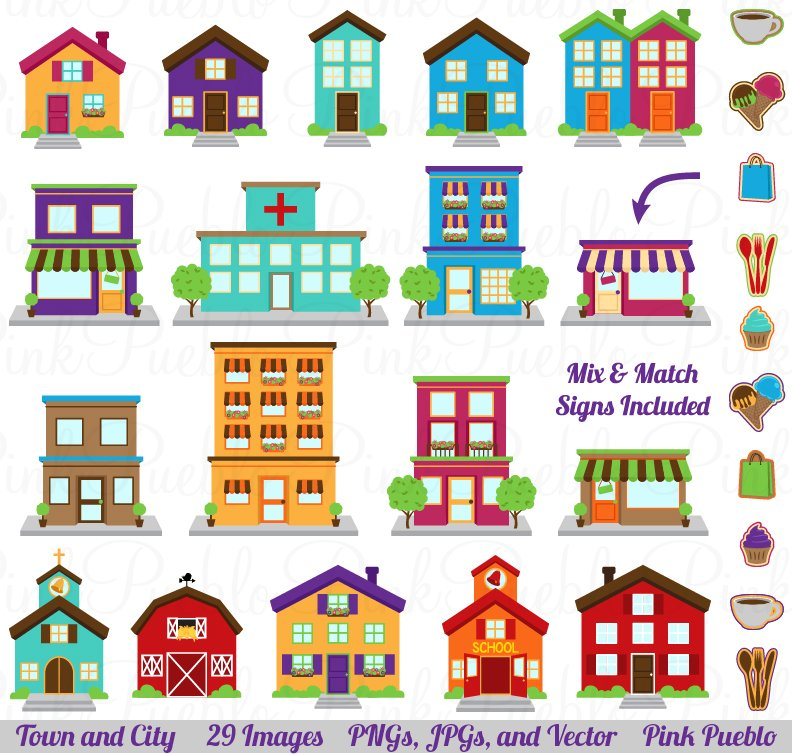 Town, City, Village Clipart & Vector ~ Illustrations ...