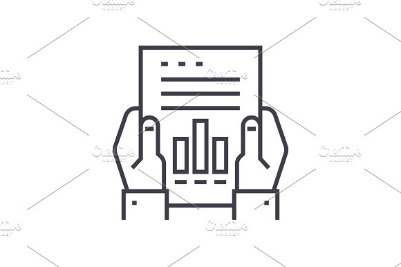 Financial Report Linear Icon Sign Symbol Vector On Isolated Background
