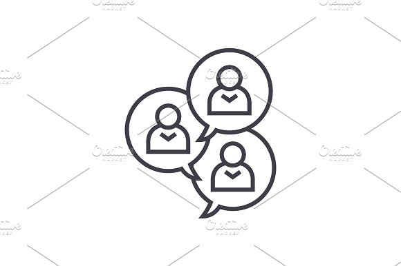 Focus Group Discussion Linear Icon Sign Symbol Vector On Isolated Background