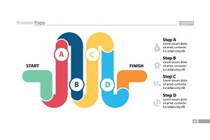 Four Parts Workflow Slide Template