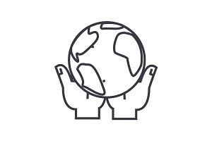 global business in hands linear icon, sign, symbol, vector on isolated background