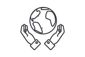 globalization in hands linear icon, sign, symbol, vector on isolated background