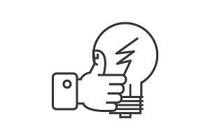 good idea, hand with thumb up linear icon, sign, symbol, vector on isolated background
