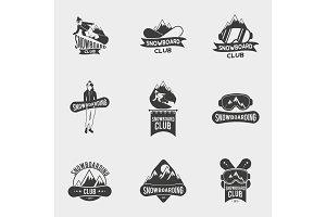 Set of snowboard club logos