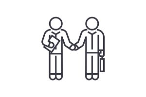 hand shaking businessmen, agreement linear icon, sign, symbol, vector on isolated background