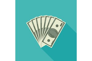 Dollars banknote flat icon