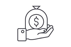 hand with money bag linear icon, sign, symbol, vector on isolated background