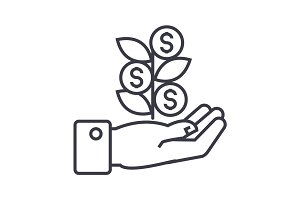 hand with money tree linear icon, sign, symbol, vector on isolated background