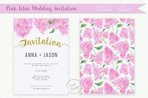 Pink Lilac Watercolor Wedding Invite