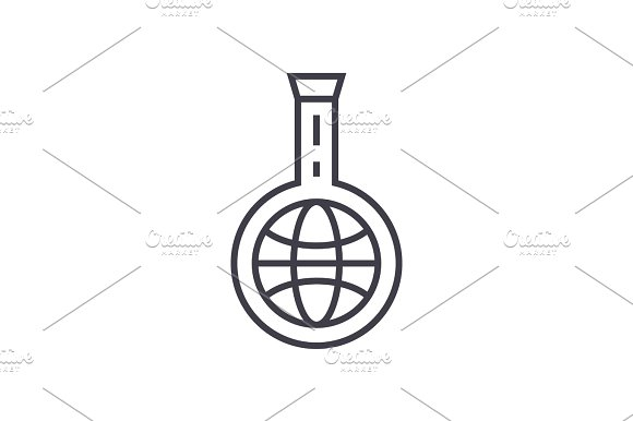 Idea Market Research Linear Icon Sign Symbol Vector On Isolated Background