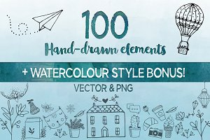 Hand drawn Elements Vector and PNG