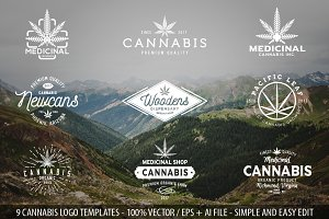 9 Modern Vintage Cannabis Logos II