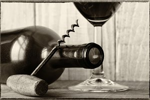 Vintage Wine Still Life Bottle