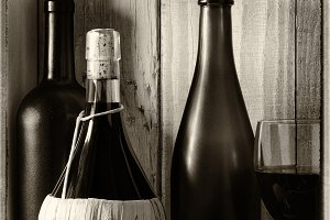 Vintage Wine Still Life Window Light