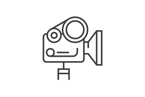 movie camera linear icon, sign, symbol, vector on isolated background